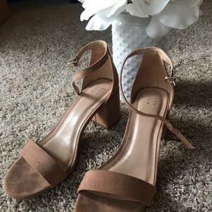 Short Block Strap Tan Sandals *WORN ONCE*